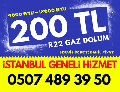 R22 9000 BTU 12000 BTU Klima Gaz Dolumu